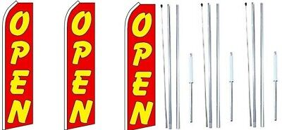 Open Red Swooper Flag With Complete Hybrid Pole Set- 3 Pack