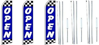 Open Blue Checkered Swooper Flag With Complete Hybrid Pole Set- 3 Pack
