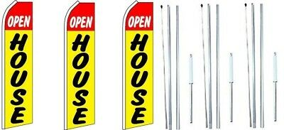 Open House Yellow Swooper Flag With Complete Hybrid Pole Set- 3 Pack