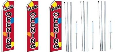 Grand Opening Balloons Swooper Flag With Complete Hybrid Pole Set- 3 Pack