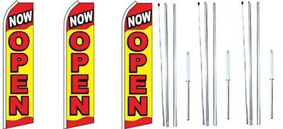 Now Open Swooper Flag With Complete Hybrid Pole Set- 3 Pack