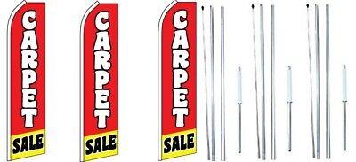 Carpet Sale Swooper Flag With Complete Hybrid Pole Set- 3 Pack