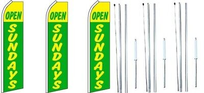 Open Sundays Green Yellow Swooper Flag With Complete Hybrid Pole Set- 3 Pack