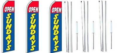 Open Sundays Red Blue Swooper Flag With Complete Hybrid Pole Set- 3 Pack