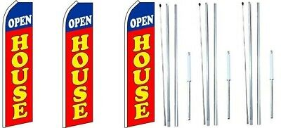 Open House Red Swooper Flag With Complete Hybrid Pole Set- 3 Pack