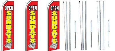 Open Sundays Red Yellow Swooper Flag With Complete Hybrid Pole Set- 3 Pack