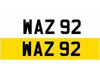 WAZ 92 Dateless Personalised Number Plate Audi BMW Ford Golf Mercedes Kia Vauxhall Warren Wendy Way