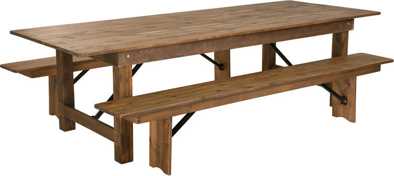 Details About 9 X 40 Antique Rustic Design Folding Farm Table With Two Bench Set