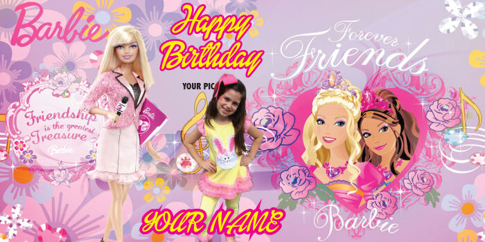"""Birthday banner Personalized """"FREE BARBIE"""" with your Photo and Name 6x3 feet"""