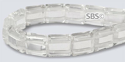 Crystal Quartz 10x10mm 2-Hole Square Stone Beads (approx. 16 inch strand)
