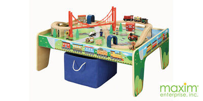 MAXIM 50084~50-Pc Wooden Train Set w/TABLE-2018~Thomas/BRIO~Girls & Boys-3+ - Girl Train Table