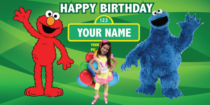 """Birthday banner Personalized """"FREE SESAME STREET"""" with your Photo and Name 6x3 f"""