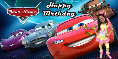 "Birthday banner Personalized ""FREE CARS"" w/your Photo and Name 6x3 f"