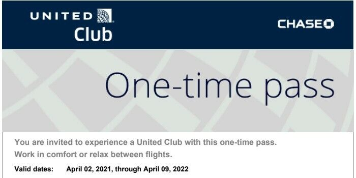 United Airline Club Lounge Passes X 2 Expired On 4/9/2022, Fast Email Delivery  - $49.00