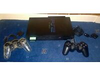 PS2 Console with PS1 and PS2 games and accessories