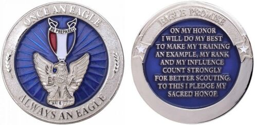 EAGLE SCOUT CHALLENGE COIN Token Once an Eagle Always an Eagle Boy Scout & Case