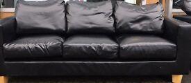 3+2 leather faux black sofa set