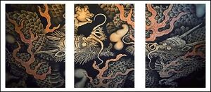 Twin Dragons Mural Japanese Old Temple 3 Panel Triptych Wall Art Print Poster
