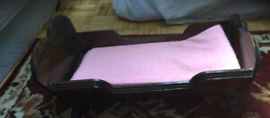 Solid wood vintage doll bed with mattress