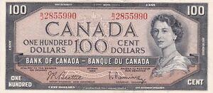 MONNAIE BEAU BILLET DE 100$ DE 1954....