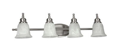 4 Light 36 inch Satin Nickel And Alabaster Glass Fluorescent Vanity Bath Wall