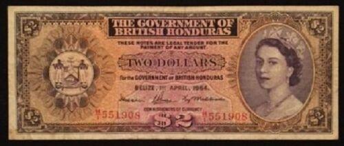 British Honduras (Belize) 1964   $2 note   SCARCE