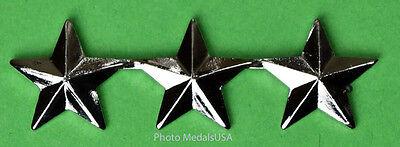 3 Star General Rank Silver   Collar  Shirt  Hat  Ball Cap Insignia