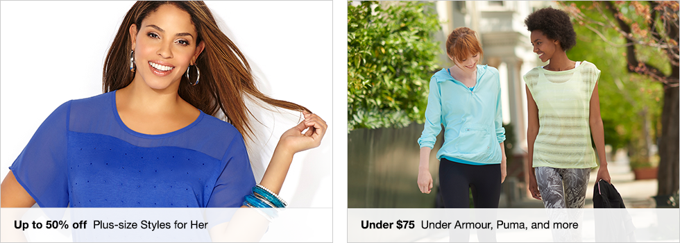 Up to 50% off Plus-size Styles for Her | Under $75 Under Armour, Puma, and more
