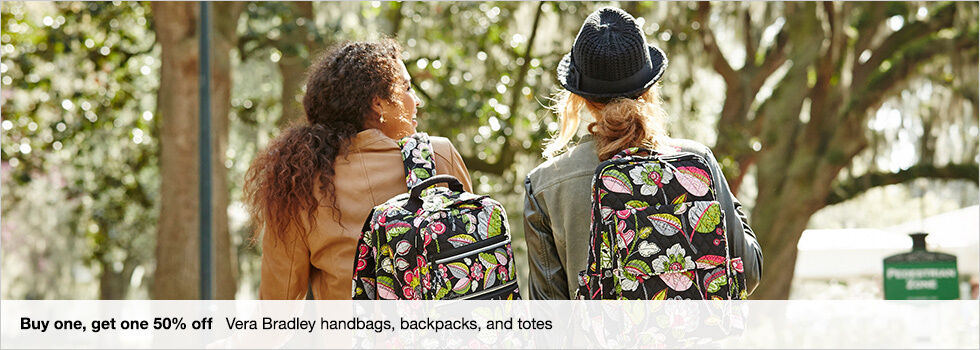 Buy one, get one 50% off Vera Bradley handbags, backpacks, and totes