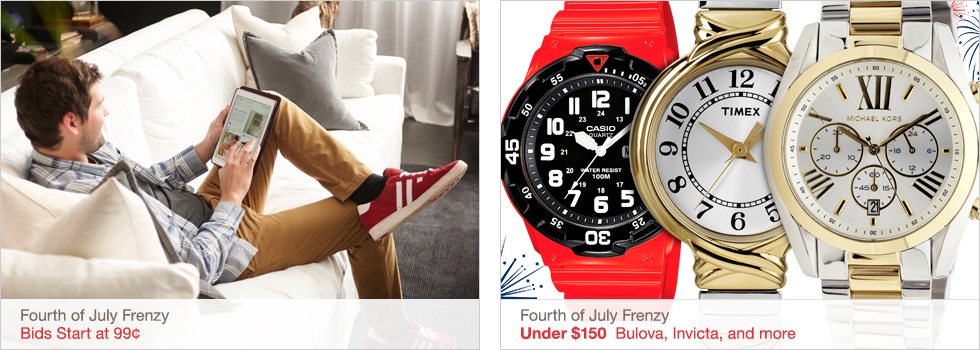 Fourth of July Frenzy | Bids Start at 99¢ | Fourth of July Frenzy | Under $150 Bulova, Invicta, and more