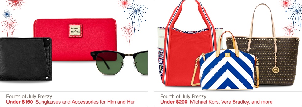 Fourth of July Frenzy | Under $150 Sunglasses and Accessories for Him and Her | Fourth of July Frenzy | Under $200 Kate Spade New York, Coach, and more