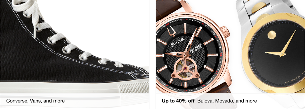 Converse, Vans, and more | Up to 40% off Bulova, Movado, and more
