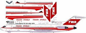 TWA 1975 Boeing 727-200 decals for Minicraft 1/144 kit