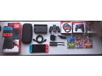 Neon Nintendo Switch with Games and Accessories