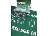 Poker layout. Green Texas Hold'em Poker felt 90 x 60 cm