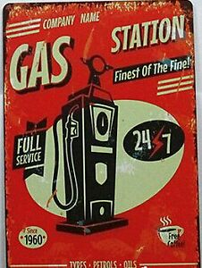 8x12 Inch Gas Station Full Service 24/7 Retro Inspired Tin Sign Sarnia Sarnia Area image 1