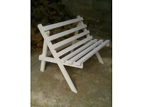 Lovely Vintage Solid Wood 2 Seater Garden or Patio Bench / Lounger