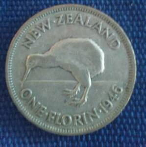 1946 NEW ZEALAND ONE FLORIN TWO SHILINGS ( flat back) Tewantin Noosa Area Preview