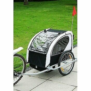 Aosom 2 in 1 Double Child Bike Trailer and Stroller Black