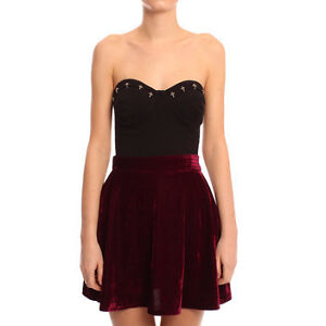 High waisted red velvet pleated skater skirt