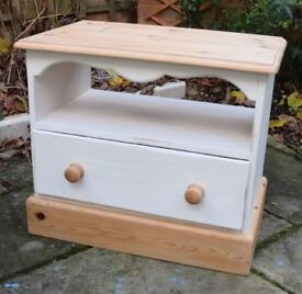 Pine and White Painted TV Stand with drawer