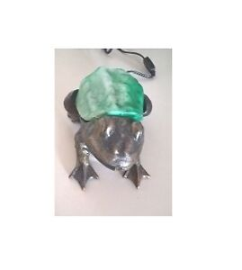 Vintage Cast Iron Green Frog Lamp