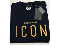 Dsquared2 Icon Men Golden Embroidered T-Shirt Brand New
