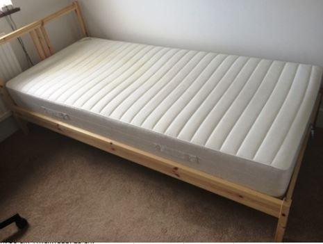 ikea fjellse single bed frame with slatted bed base and sultan hagavik active pocket sprung. Black Bedroom Furniture Sets. Home Design Ideas