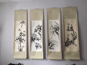 Chinese Ink Four Seasons Scrolls