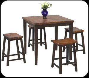 2-Tone Solid Wood Bistro Dinning Set, includes 4 stools