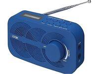 LOGIK LRNDAB14 PORTABLE DAB FM RADIO LCD DISPLAY BLUE MAINS OR BATTERY POWERED