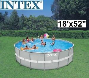 "NEW INTEX ABOVE GROUND POOL SET - 129374866 - 18'x52"" - Ultra Frame™ Round"