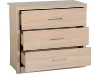 New light or dark Oak effect 3 drawer chest of drawers Only £79 Get yours Today IN STOCK NOW