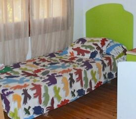 Modern colourful Single bed with headboard- side table - chest of drawers - 2 shelves